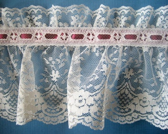 "Extra Wide Ruffled Victorian Lace, Wine / Ivory, 5"" inch wide, 1 Yard, For Victorian & Romantic Projects"