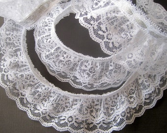 """Ruffled Lace with Metallic Ribbon, Silver / White, 2 1/2"""" inch wide, 1 yard For Costumes, Dolls, Accessories, Decor, Scrapbook"""