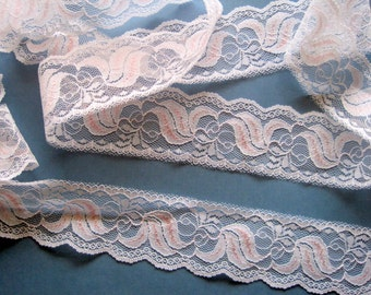 "Shabby Feminine Lace Trim, White / Baby Pink, 1 3/4"" inch wide, 1 Yard, For Victorian & Romantic Projects"