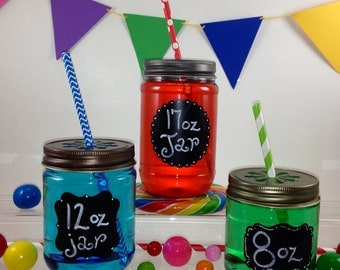 20 CLEAR Plastic 17 oz Mason Jars with Daisy Cut  Lids - Choose from 3 Different Lid Colors, Candle making, Kids Crafts