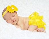 yellow bloomer set..bloomer set..yellow headband..newborn bloomer set..baby girl bloomer set