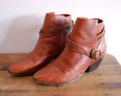 HOLD FOR NICO Vintage 80's Brown Leather Studded Harness Ankle Boots 7.5