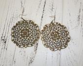 Cowgirl Earrings, Western Chunky Bronze Filigree Earrings