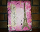 La Belle Vie; Mixed Media Original; Paris Art; Eiffel Tower - AmandaHilburnART