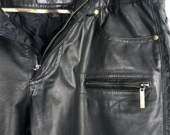 80s Roberto Cavalli UNISEX leather biker pants/ lace up sides/steampunk biker goth/ made in Italy: mens size medium/ womens large