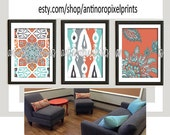 Digital Print Ikat Prints Orange Blue Grey Wall Art Vintage / Modern Inspired -Set of (3) -8x10 Prints -  (UNFRAMED)