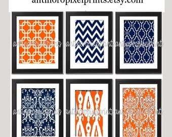 Vintage / Modern inspired Art Prints Collection (Series A) -Set of 6 - 5x7 Prints - Featured in Orange Navy  (UNFRAMED)
