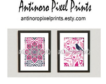 Pink Navy Fucshia Vintage / Modern inspired  Art Prints Collection  -Set of (2) - 8 x 10 Prints -   (UNFRAMED)