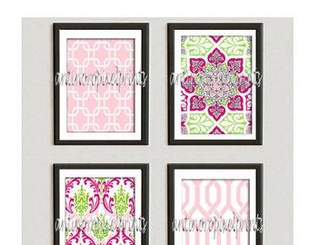Pink Green Nursery Digital Print Wall Art Prints Art  -Set of (4) - 8 x 10 Prints - Pink Green  (UNFRAMED)