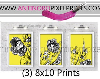 Victorian Floral Inspired Vintage/ Modern  Art Print  - 8x10 Print - Yellow Grey Black (UnFramed).