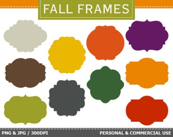 BUY 1 GET 1 FREE - 10 Digital Autumn Frames Labels Clip Art Autumn, Fall, Orange Frames Clip Art. Commercial and Personal use,