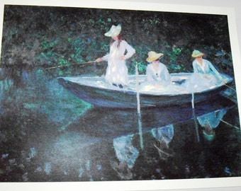 Vintage Impressionism Print, The Boat of Giverny France, giclee, blue, green tones wall decor