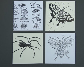 Pack of four Insect and Spider blank greetings cards - handprinted lino cut cards