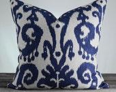 Batik Indigo IKAT Pillow cover - Designer Fabric - IKAT Marrakesh Batik Indigo - Blue Cream