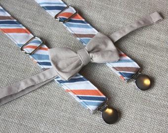 Cream Tan Bow Tie and Blue Orange Stripe Suspender set ( Men, boys, baby, toddler, infant ) Bow Tie, Bowtie, Suspenders, Suspender Set