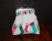 RESERVED FOR ROSEMARIE Colourful Stockings Lights And Baubles Red Green Festive Christmas Design on Silver Frame Clasp Coin Purse