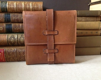 England Belted Leather Travel Case Small Folio Case Document Holder Made in England
