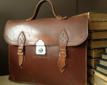 Brown Leather Briefcase Handcrafted in England, Tooled Leather Flowers, Attache, Portfolio
