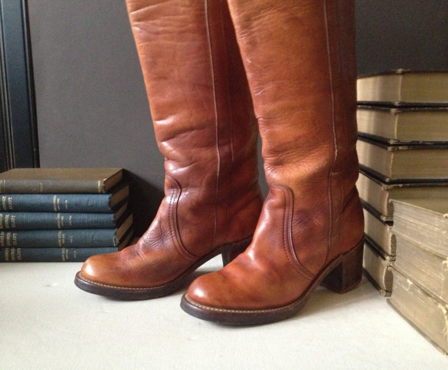 1960s frye leather boots cognac brown cus size 5 5 us