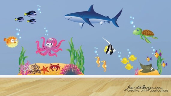 Ocean Wall Decals,Kids Ocean theme Wall Stickers,Fish and Under the Sea Theme Room