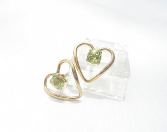 Natural Gemstone Peridot 3mm Faceted Round - Heart Shaped 14kt Yellow Gold Filled Stud Style Earrings