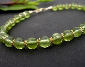 Natural Gemstone Peridot 5.5mm Round Bead 14kt Gold Filled Bracelet
