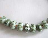 SRA lampwork beads (9) in soft green tones, made by me in my home studio