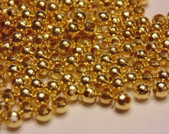 50 gold plated spacer beads, 4 mm