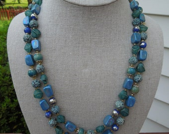 Vintage JAPAN Necklace and Earrings Set.  1950s.  Shades of Blue, Gold Tone Filigrees and Spacers.  Signed Japan