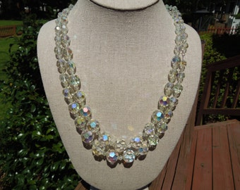 Vintage Glass Necklace, Double Strand Sparkling Glass Beads, 18-20 Inches Long, Pretty.