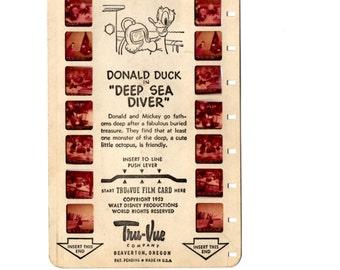 Tru Vue Film Cards Set of Three  Donald Duck, Mickey Mouse Club, Cinderella Slides, Vue Master Film, Childrens Toys, Film Slides