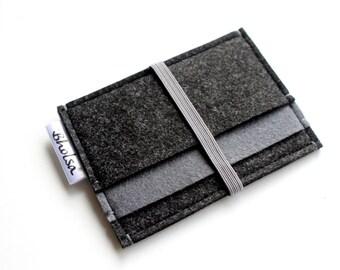 Little Wallet, Card Organizer, Card Wallet, Felt Wallet, Small Wallet, Coin wallet- Choose your model- Graffiti Black & Charcoal Grey