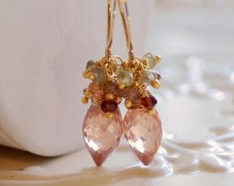 Champagne Wedding Earrings, CZ Cubic Zirconia, Tundra Sapphire Gemstone, Autumn Bridal Jewelry, - Champagne - Free Shipping