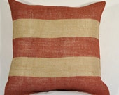 Burlap Pillow- Red Stripe - July Fourth Flag Decor - 16 x 16 Inches - Family Room - Ready to Ship - Shabby Chic