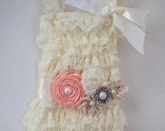 15% off Vintage ivory lace posh petti ruffle romper headband  sash set S M L XL XXL