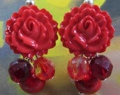 Glam Flower Earrings, Vintage Style