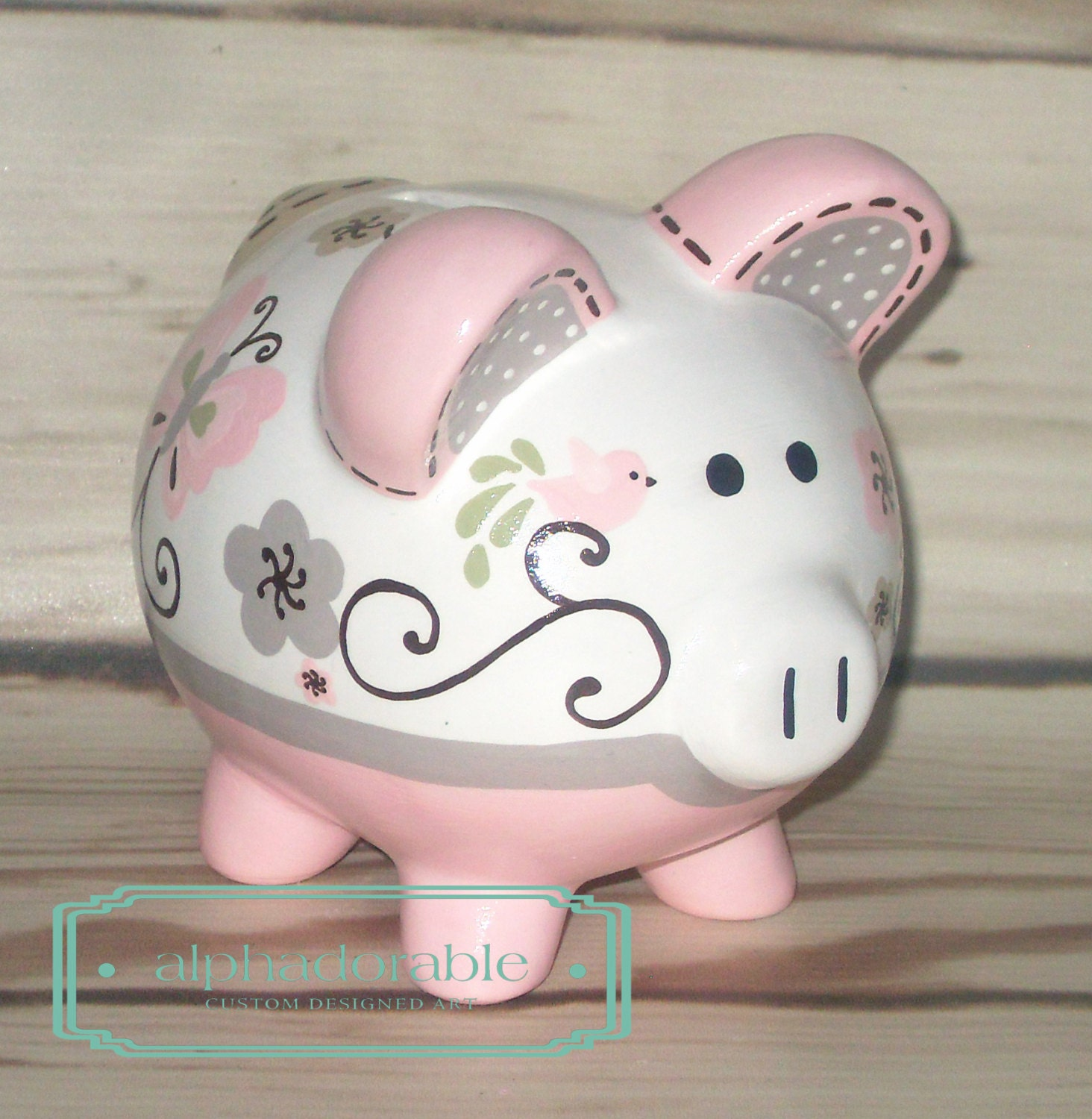 Personalized piggy bank artisan hand painted ceramic piggy for How to paint a ceramic piggy bank