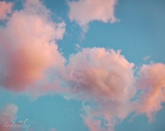 Cotton Candy Clouds - Pink Clouds Teal Sky Photograph - Nursery or Inspirational Decor - Nature Photography - 16x20