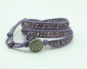 Purple crystal wrapped bracelet.