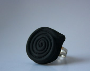 LICORICE ROPE RING - Polymer clay licorice rope miniature on an adjustable ring base