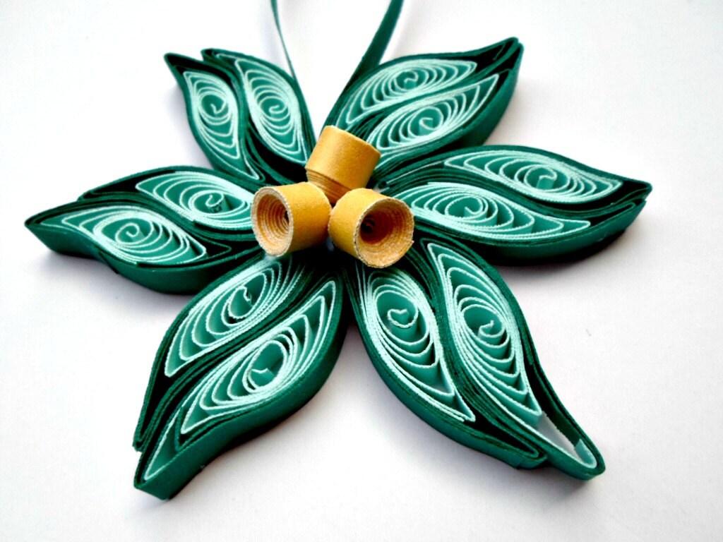 Teal gold flower Christmas tree ornament Paper flower ornament
