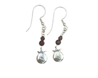 Sterling Silver Earrings with Sterling Silver pomegranate pendants and double garnets - er006