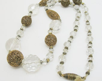 Vintage Filigree Brass and Crystal Necklace with Beehive Clasp