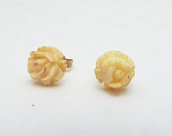 Earrings Post Gold Tiny Carved Roses on Oxbone