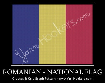 Romanian National Flag - Afghan Crochet Graph Pattern Chart by Yarn Hookers