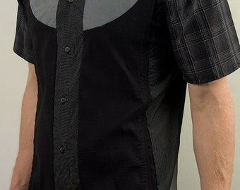 Unique modern black and gray buttoned shirt
