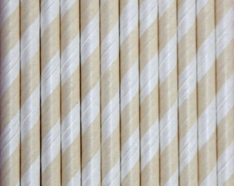 Ivory & White Striped Paper Straws