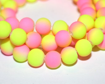 80pc Loose Beads Pink and Yellow-Basketball wives inspired Bracelet beads-Rubberized Beads-Necklace Beads-8mm