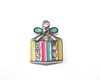 5pc Gift Box Charm / Pendant / Enamel Charm / Bracelet and Necklace Charm-19x14mm