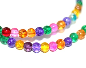 100pc Loose Beads Mixed Color 4mm Basketball wives earrings inspired Bracelet and Necklace beads/Glass Beads/4mm